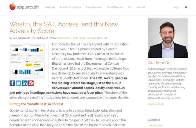 Article on Wealth, the SAT, Access, and the New Adversity Score