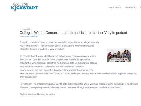 "College Kickstart Article on ""Demonstrated Interest"""