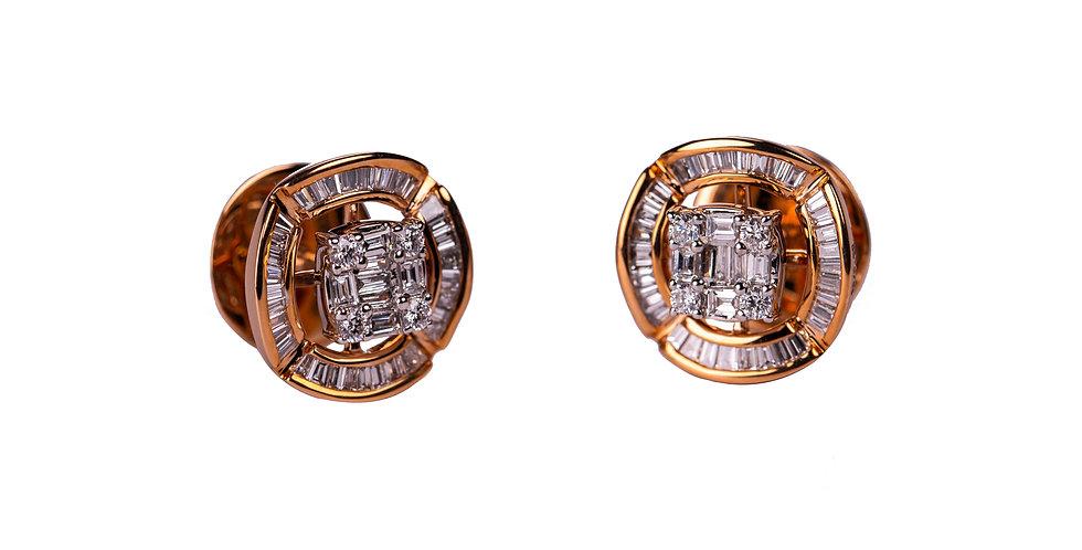 Princess Cut Baguette Diamond Ear Ring