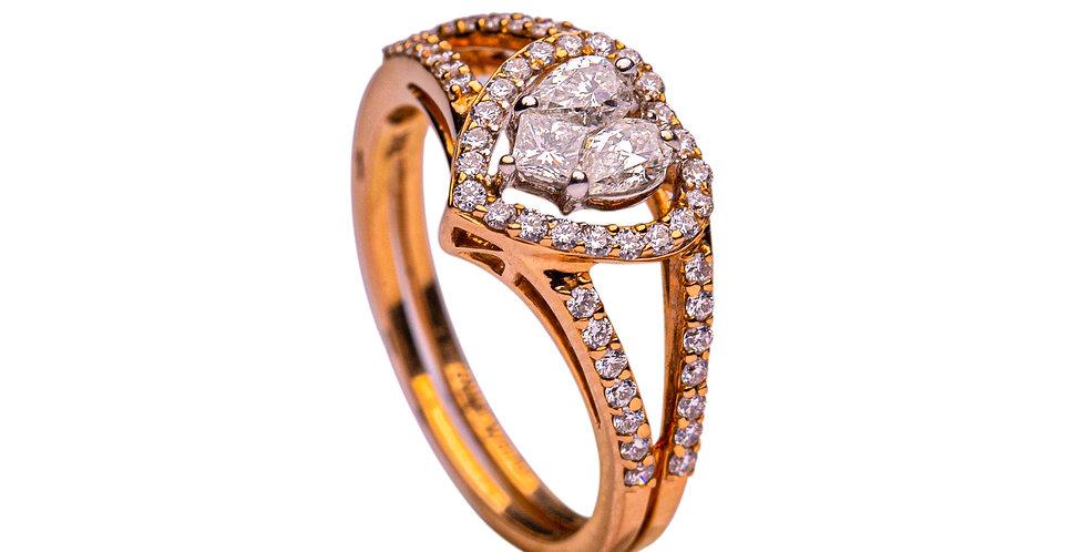 Heart Shaped Diamond Studded Gold Ring For Women