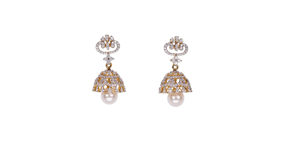 Diamond Studded Jhumka Gold Earring With Pearl Hanging