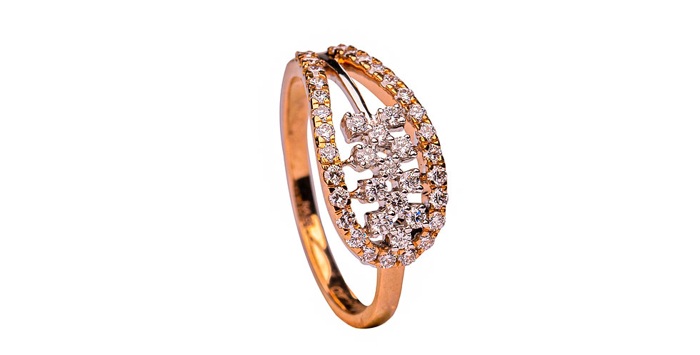 Diamond Studded Casual Yellow Gold Ring