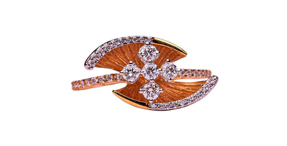 Diamond Ring With 4 Cross Set Diamonds In Gold