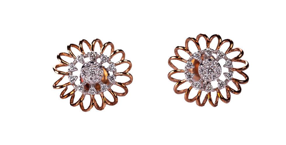 Diamond Studded Rose Gold Earring