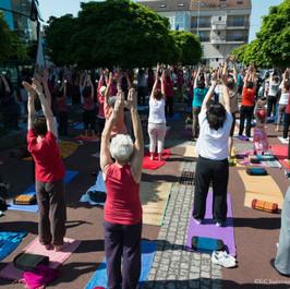 Cours de yoga collectif en plein air