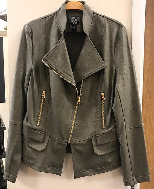 Olive Liquid Leather Jacket