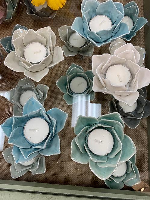 Ceramic Flower Votive Holder
