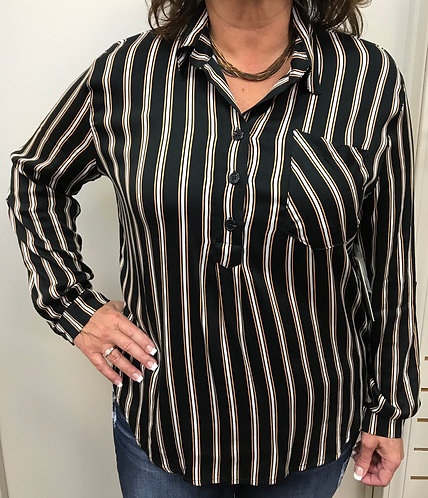 Black Striped Button Neck Long Sleeve Top