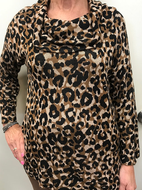 Cheetah Print Top with Cowell Neck