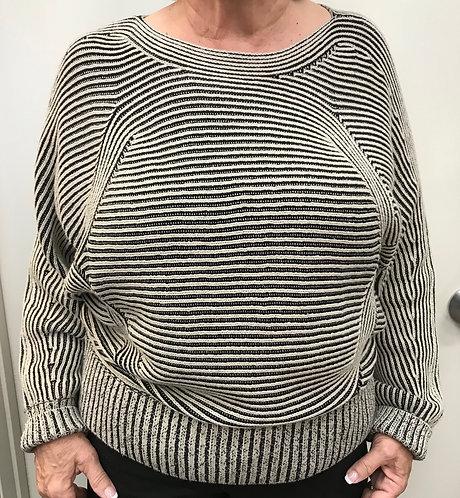 Black/Cream Print Sweater with Dolman Sleeve