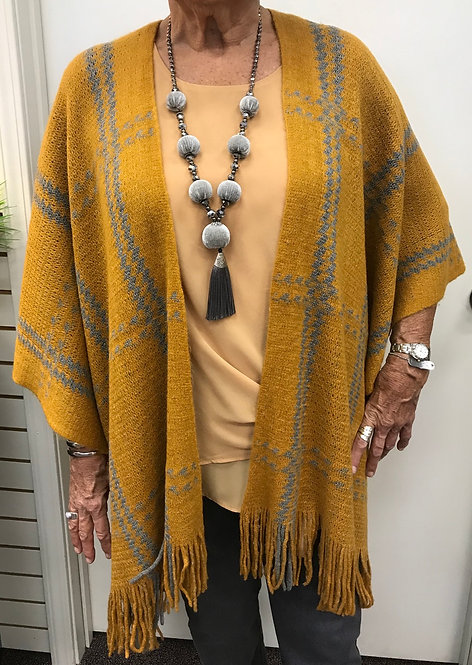 Plaid Sweater Shawl with Fringe Bottom