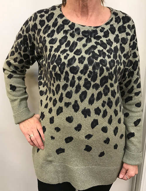 Olive Animal Print Sweater