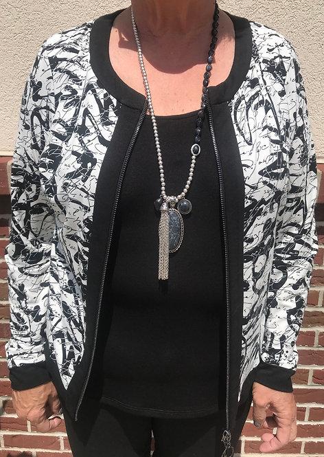 Black/White Print Zip-Up Jacket