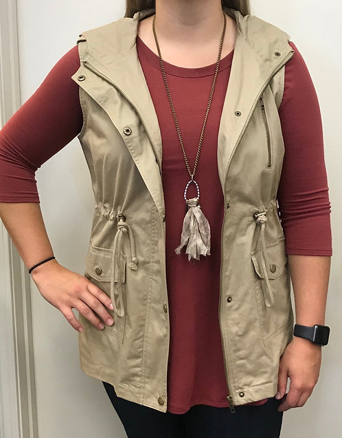 Hooded Cargo Vest with Drawstring Waist