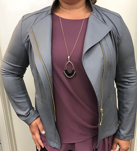 Grey Liquid Leather Jacket