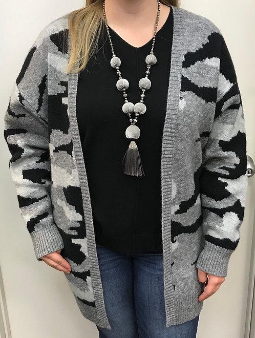 Grey/Black Camo Print Sweater Cardigan