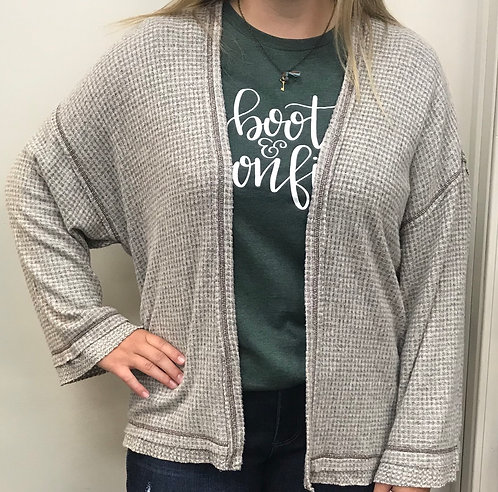 Oatmeal Colored Waffle Textured Cardigan