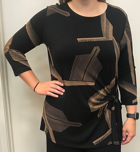 Black/Tan Print Top with Side Tie