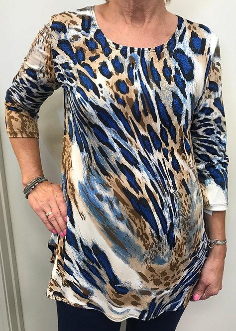 Royal Blue/Tan Animal Print Top