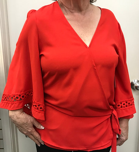 Red Top with Flowy Sleeves
