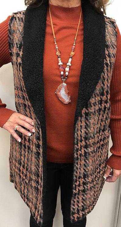 Rust/Black Print Sherpa Lined Vest