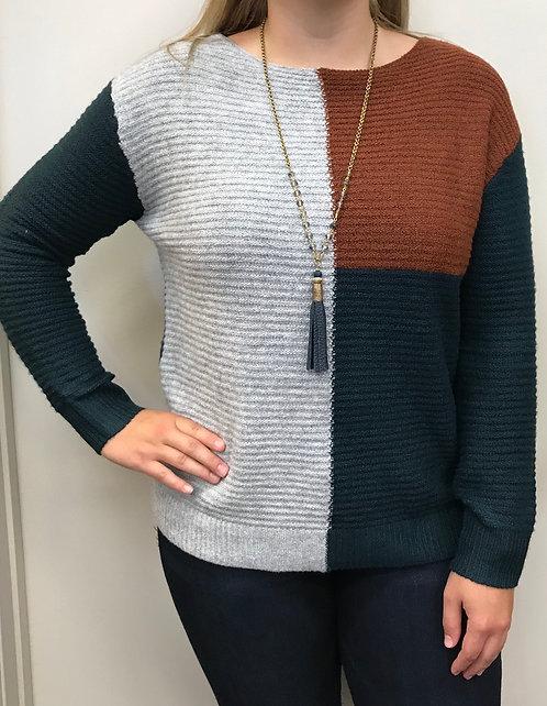 Hunter Green Color Block Sweater Top