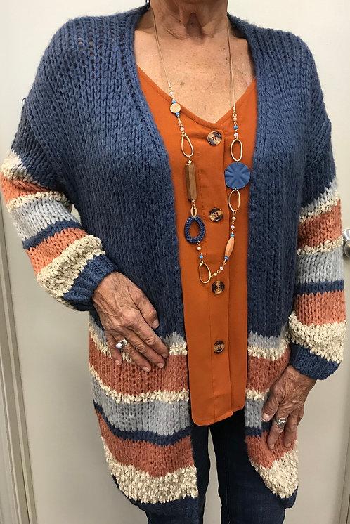Blue/Rust/Cream/Grey Striped Sweater Cardigan