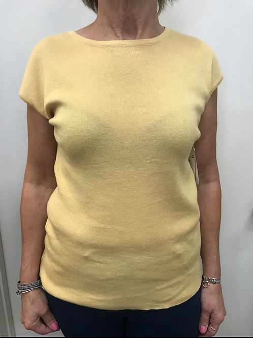 Yellow Knit Short Sleeve Top