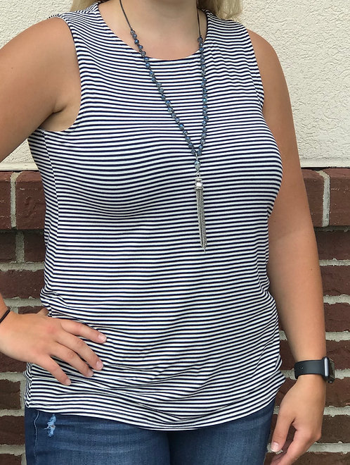 Navy Stripe Tank with Open Back
