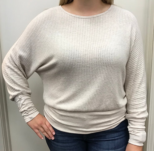 Cream Waffle Knit Top with Button Sleeve Detail and Banded Bottom