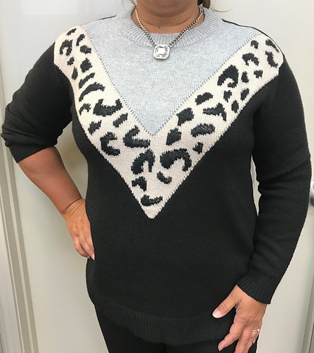 Animal Print Chevron Sweater
