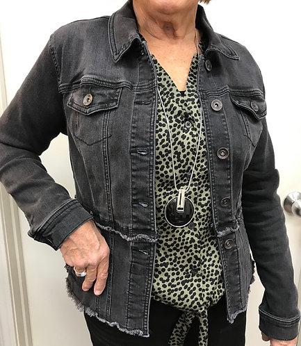 Black Short Denim Jacket with Frayed Edges