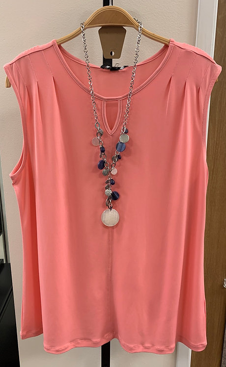 Pink Tank with Cutout Neck