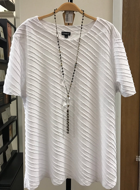 White Textured Short Sleeve Top