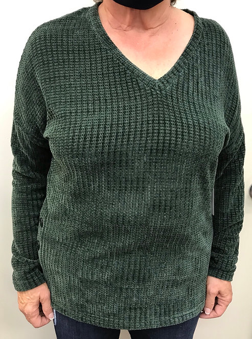 Green V Neck Sweater with Side Button Detail