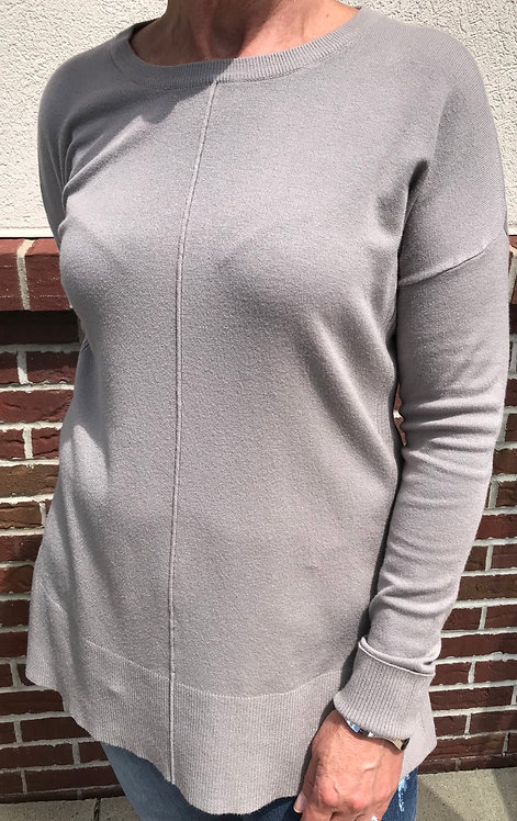 Long Sleeve Knit Sweater with Center Seam