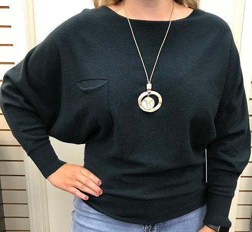 Hunter Green Sweater Top with Button Back