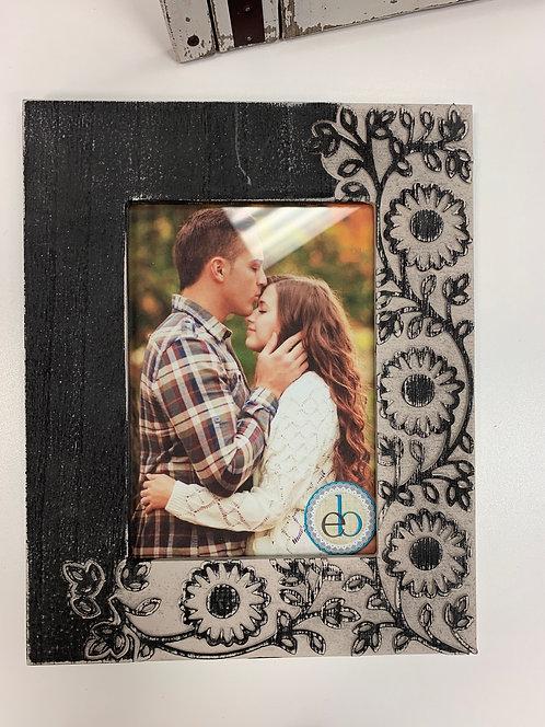 Charcoal Grey Floral Carved Frame