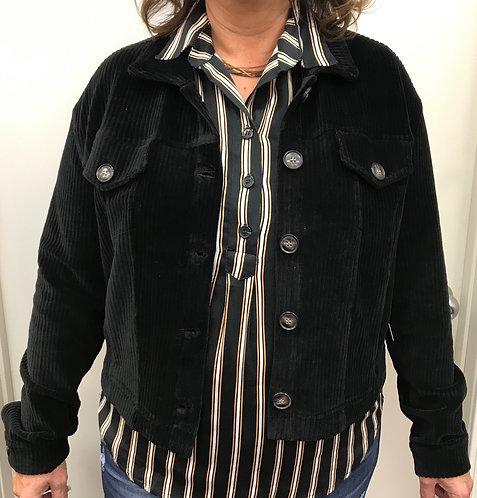 Black Corduroy Button-Up Jacket
