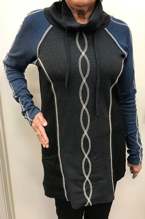 Blue/Grey/Black Tunic with Cream Stitching