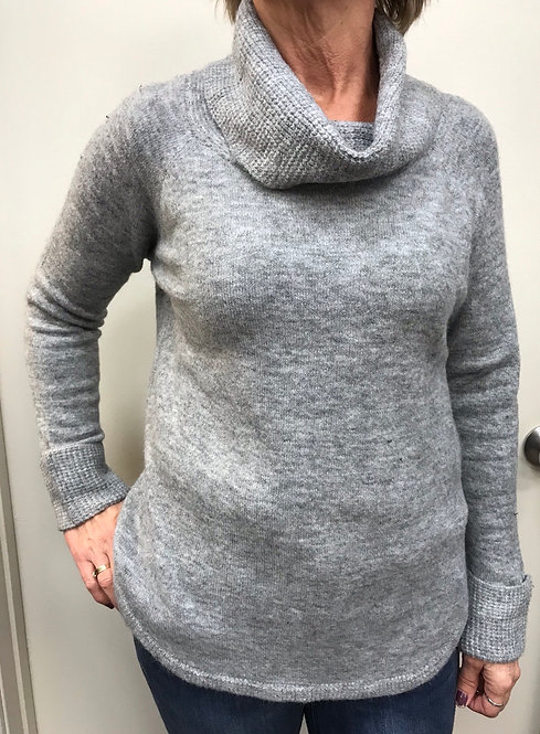 Grey Sweater with Cowell Neck