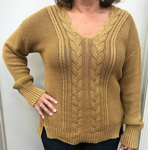 Cable Knit Sweater with V Neck