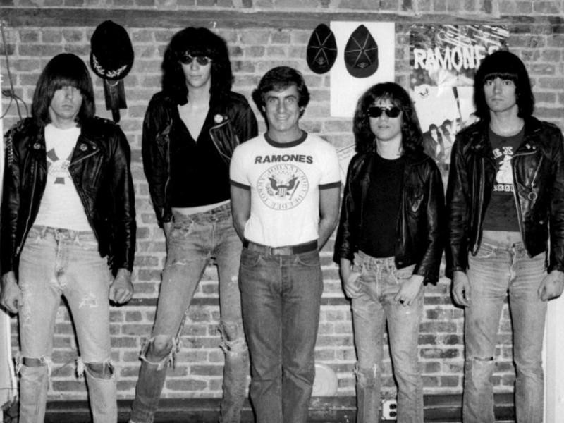 The Ramones with manager Danny Fields