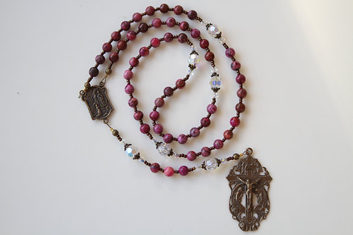 "Fuchsia ""Crazy Lace"" Gemstone, Kneeling Angels and Bronze Rosary"