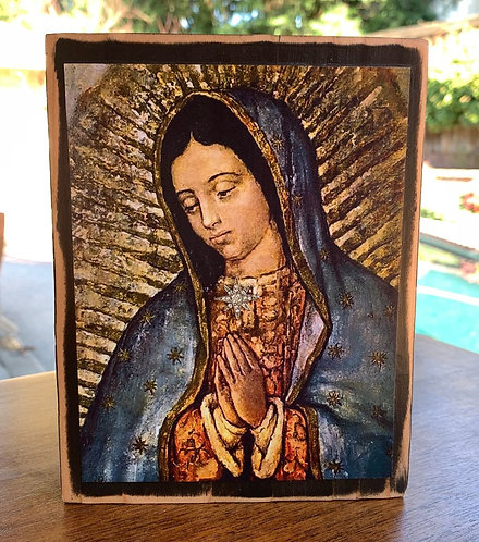 "Our lady of Guadalupe  7""h x 5.5""w"