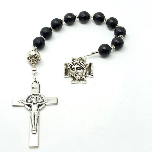 LavaRock and Silver Plated St. Benedict Crucifix and Homo Ecce Decade