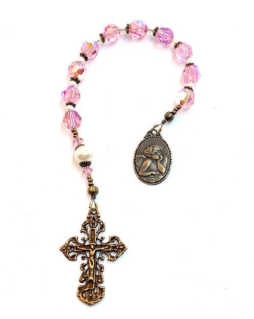 Pink and Pearl Swarovski Single Decade Rosary