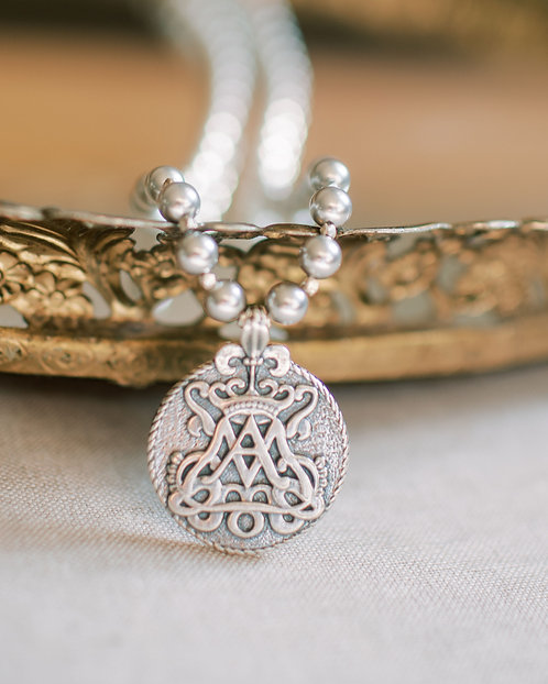 """Ave Maria Sterling and Swarovski 16"""" Necklace"""