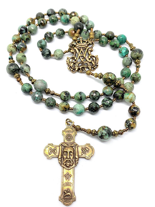 """African """"Turquoise"""" Agate and Bronze Auspice Maria Rosary"""