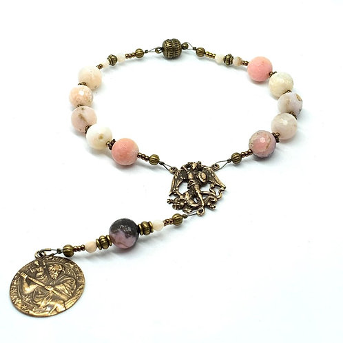 Car Rosary Pink Opal and Bronze